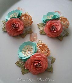 Corsages Paper Flowers Weddings Salmon por morepaperthanshoes