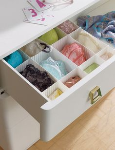 Drawer dividers help keep delicate lingerie organized and prevent any snags from tangled bra hooks. Lingerie Storage, Lingerie Organization, Underwear Storage, Lingerie Drawer, Closet Organization, Organizing Drawers, Bra Storage, Drawer Storage, Drawer Dividers