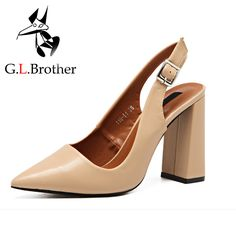 G.L.Brother High Heels Nude Pumps Fashion Pointed Toe Women Pumps 2017 Black Chunky Heel Sandals Slingback Pumps Heel Designer-in Women's Pumps from Shoes on Aliexpress.com | Alibaba Group