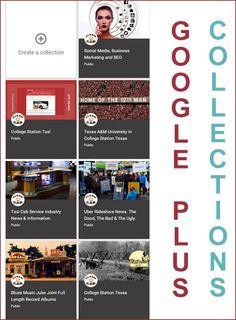 Organize your Gplus post with Gplus page collections. Helps your social media SEO by creating more pages. College Station Texas, Special Interest, Blues Music, Thing 1 Thing 2, Taxi, Business Marketing, Friends Family, Organize, Collections