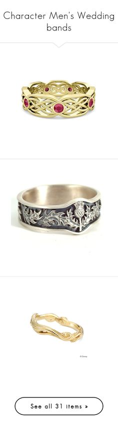 """""""Character Men's Wedding bands"""" by thesassystewart on Polyvore featuring jewelry, rings, wedding rings, 14k wedding ring, wedding band rings, 14 karat ring, ruby wedding rings, army jewelry, handcrafted sterling silver rings and sterling silver rings"""