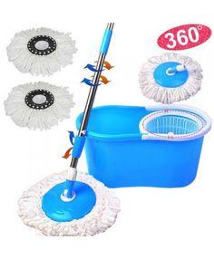 Magic Floor Mop 360° Bucket 2 Heads Microfiber Spin Spinning Rotating Head