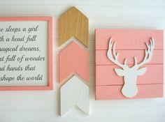 Items similar to Baby Girl Woodland Nursery Set . Fawn on Etsy Boho Nursery, Coral Nursery, Arrow Nursery, Woodland Nursery Girl, Woodland Nursery Decor, Baby Canopy, Greeting Card Shops, Baby Boy Gifts, Animal Nursery
