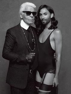 """Karl Lagerfeld und Conchita Wurst posieren zusammen für """"CR Fashion Book"""""""