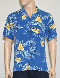 Men Aloha Blue Shirt in Rayon Okalani