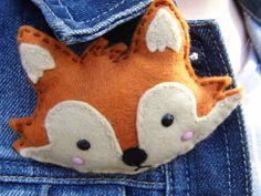 how to sew a felt fox brooch