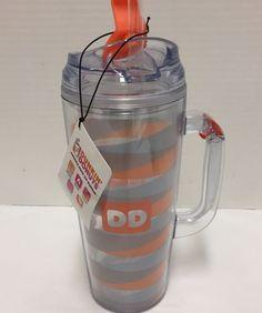 New Dunkin Donuts Acrylic Travel Coffee Mug Orange Blue 24 Ounces #DunkinDonuts