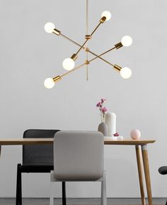 6 light bulb golden sputnik pendant light for formal simple chic office desk - Hobbies paining body for kids and adult Hanging Light Fixtures, Hanging Lights, Sitting Room Lights, Modern Chandelier, Chandeliers, House Paint Interior, Room Lamp, Home Room Design, Living Room Lighting