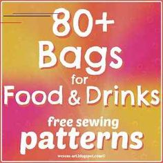 Bags for Food and Drinks Sewing Patterns from Wesens Art - Week 36 Featured Post Sewing Patterns Free, Free Sewing, Bag Patterns, Sewing Crafts, Sewing Projects, Sewing Ideas, Drink Bag, Diy Purse, Bag Making