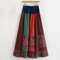 2016 New National Patchwork Colorful Long Women Skirt Elastic Embroidery Floral Mid-calf Chinese Style Fall Cotton Linen Skirt - http://fashionfromchina.net/?product=2016-new-national-patchwork-colorful-long-women-skirt-elastic-embroidery-floral-mid-calf-chinese-style-fall-cotton-linen-skirt
