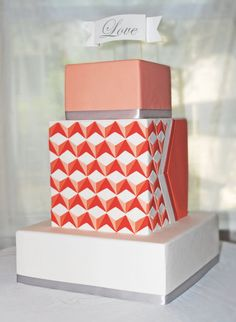 Inlay optical illusion pattern wedding cake