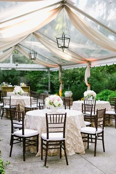 tented reception with pintuck linens   Annabella Charles #wedding