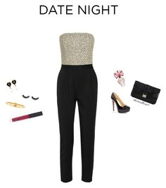 """""""formal jumpsuit"""" by thetealheart ❤ liked on Polyvore featuring Christian Louboutin, Chanel, Alice + Olivia, Cartier, BCBGMAXAZRIA, Valentino and NARS Cosmetics"""