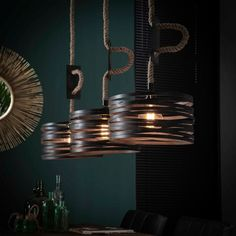 Industrial Ceiling Light Watson 3 Pendants - Available at Furnwise! Industrial Floor Lamps, Industrial Ceiling Lights, Industrial Table, Led Lampe, Light Fittings, Lamp Design, Cool Lighting, Ceiling Lamp, Hanging Lights