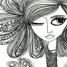 "...another ""bad hair day"" lesson reference.  kind of ""zentangle-ish"" by fairytwine"