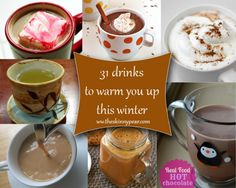 31 Hot drinks to keep you warm this winter (Note, not all are low-carb, but MOST can be converted to low-carb quite easily. Just use your favorite sweetener. this is a list of AWESOME hot tasty beverages! Fruit Drinks, Yummy Drinks, Healthy Drinks, Yummy Food, Alcoholic Drinks, Cocktails, Low Carb Recipes, Real Food Recipes, Gluten Free Drinks