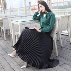 Summer Vintage Silver Golden Metal Solid Flared Maxi Skirt High Waist Beach Long Pleated Skirts Ladies Size One Size Color silver(long Black Pleated Skirt Outfit, Long Pleated Maxi Skirt, Long Skirt Outfits, Dress Skirt, High Waisted Skirt, Maxi Skirts, Jean Skirts, Denim Skirts, Black Maxi