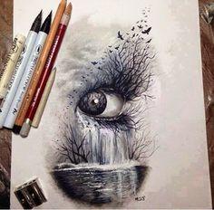 Oeil chute d'eau