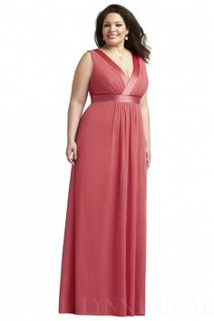 Column Plunging Chiffon Plus Size Bridesmaid Dress with Ribbon