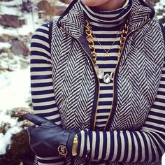 Layered herringbone and stripes turns average pieces into a fun winter look! #fashion
