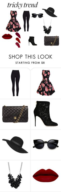 """Tricky Trend  Submission"" by khunica ❤ liked on Polyvore featuring Chanel, Dolce&Gabbana, Topshop, Betty Jackson and Ellis Faas"