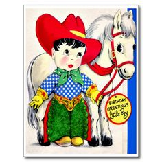 Little Cowboy and Pony - Retro Happy Birthday Post Card