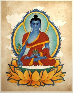 Azul medicina Buda asiático lámina Buda arte Zen Yoga arte