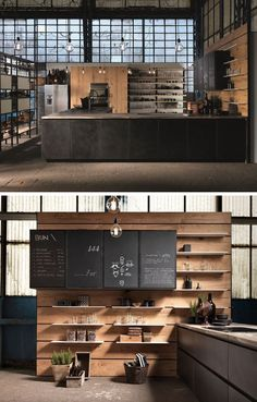 Vintage Industrial Decor House Interior Design Ideas - Discover the most effective interior design concepts Coffee Shop Design, Cafe Design, Küchen Design, Design Ideas, Design Concepts, Design Trends, Door Design, Bar Table Design, Design Shop