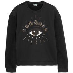 KENZO Eye-embellished neoprene-effect and fleece sweatshirt ($470) ❤ liked on Polyvore featuring tops, hoodies, sweatshirts, sweaters, jumpers, black, long sleeved, long sleeve tops, embroidered top and multi colored sweatshirts
