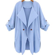 SheIn(sheinside) Blue Long Sleeve Pockets Trench Coat (€27) ❤ liked on Polyvore featuring outerwear, coats, jackets, blue, casacos, trench coat, blue trench coat, double breasted trench coat, long trench coat and blue double breasted coat