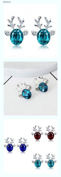 HUBA Damen Ohrringe, Weihnachten Rentier Ohrstecker, Kristall Edelstein Ohrring, Weihnachts Geschenk für Frauen Mädchen (Blau) - 14fn