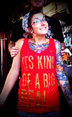 """Red tank with gold slogan """"its kind of a big deal"""" tank with splatter unisex by sacerandsavive on Etsy Slogan, Rompers, Unisex, Trending Outfits, Big, Unique Jewelry, Handmade Gifts, Tanks, Clothing"""