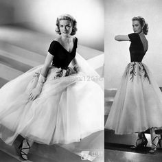 Find More Evening Dresses Information about Vintage 50's Off Shoulder Tea Length Grace Kelly of Monaco White and Black Formal Evening Dress,High Quality Evening Dresses from Happiness  Wedding  Dress on Aliexpress.com