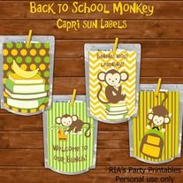 Back to School Monkey – CAPRI SUN LABELS  ------------------------------------------------------  WHAT'S INCLUDED WITH PURCHASE  ------------------------------------------------------  PDF file with  - 4 printable capri sun labels that can be printed as many times as you want. Just print, c...
