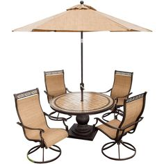 Monaco 5-Piece Swivel Rocker Dining Set with 9-Ft. Table Umbrella