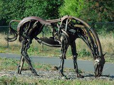 Grazing metal horse, Deborah Butterfield - Heald, California, USA by Wonderlane, via Flickr