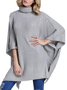 SheIn Women's Turtleneck Knit Poncho Sweater Asymmetric K…