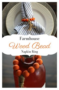Easy DIY Farmhouse Wood Bead Napkin Rings - My Turn for Us Make these beautiful Farmhouse Wood Bead Napkin Rings for your Thanksgiving napkins. These easy DIY napkin rings can be used as a wood bead napkin ring or a farmhouse decor item. Beaded Napkin Rings, Diy Napkin Rings, Diy Rings, Fall Diy, The Ranch, Unique Weddings, Crafts To Make, Diy Crafts, Decorative Items