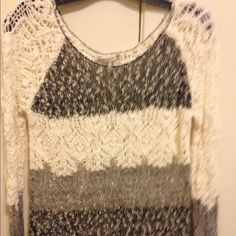 BKE striped sweater with tassels Black, grey, white sweater. Really comfy to wear! New condition BKE Tops Sweatshirts & Hoodies