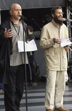 British singers Peter Gabriel and Yusuf Islam perform at rehearsals for The Nelson Mandela Foundation's '46664 Give One minute to Aids' Concert at...