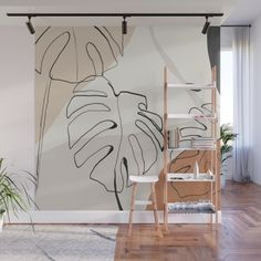 Minimal Abstract Art- Monstera Wall Mural by thindesign Wall Murals, Living Room Murals, Ceiling Murals, Mural Art, Wall Painting Decor, Wall Decor, Minimalism, Teen Room Designs, Posca Art