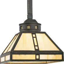 View the Progress Lighting P5020 Arts  Crafts Single-Light Mini Pendant with Light Honey Art Glass Panels  1 over table in library area..check height with out chain.