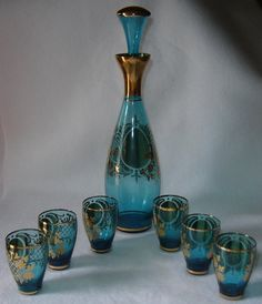 Decanters - VINTAGE VENETIAN GLASS DECANTER WITH SIX MATCHING GLASSES was sold for R585.00 on 12 Jan at 21:08 by BeaversCottage in Johannesburg (ID:18194214)