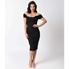 Glamour Bunny 1950s Black Off Shoulder Brigitte Wiggle Dress (535 RON) ❤ liked on Polyvore featuring dresses, black, pinup pencil dress, retro pencil dress, retro dresses, pinup wiggle dress and pin up dresses