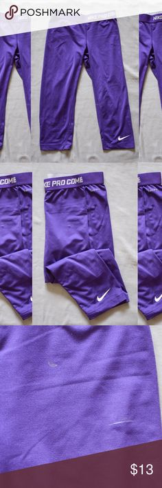 Nike Pro Combat Dri-Fit Crop Leggings SMALL Good used condition. Some paint smudges on it (as shown in photos) but still very much usable. Size small. Nike Pants Leggings