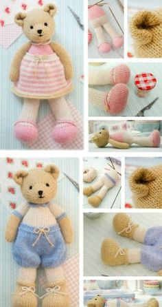 Crochet Stuff Bears Patterns Knitted Teddy Bear Patterns To Melt Your Heart You'll Love To Make Knitting Bear, Teddy Bear Knitting Pattern, Knitted Doll Patterns, Animal Knitting Patterns, Knitted Teddy Bear, Teddy Bear Toys, Knitted Dolls, Stuffed Animal Patterns, Amigurumi Patterns