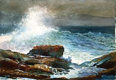 Winslow Homer: Incoming Tide, Scarboro Maine, 1883, watercolor on paper. I don't think anyone painted better seascapes.