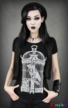 Black T-shirt crow in a cage Victorian bird cage  a40e8dfeea