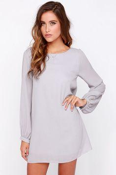 Status Update Light Grey Shift Dress at Lulus.com!