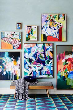 One of our favorite emerging trends in the world of decor is the aesthetic that seamlessly blends masculine and feminine points of design. Colorful painting, abstract art and wall decor Painting Inspiration, Art Inspo, Art Moderne, Art Design, Interior Design, Art Auction, Oeuvre D'art, American Art, Home Art